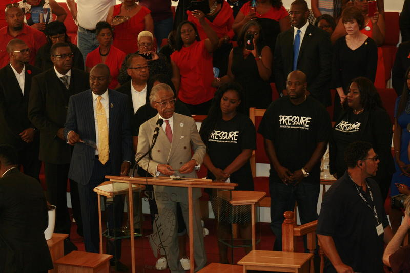 The Reverend Al Sharpton led a rally at a Clearwater church on Aug 6 to protest Florida's controversial 'stand your ground' law.