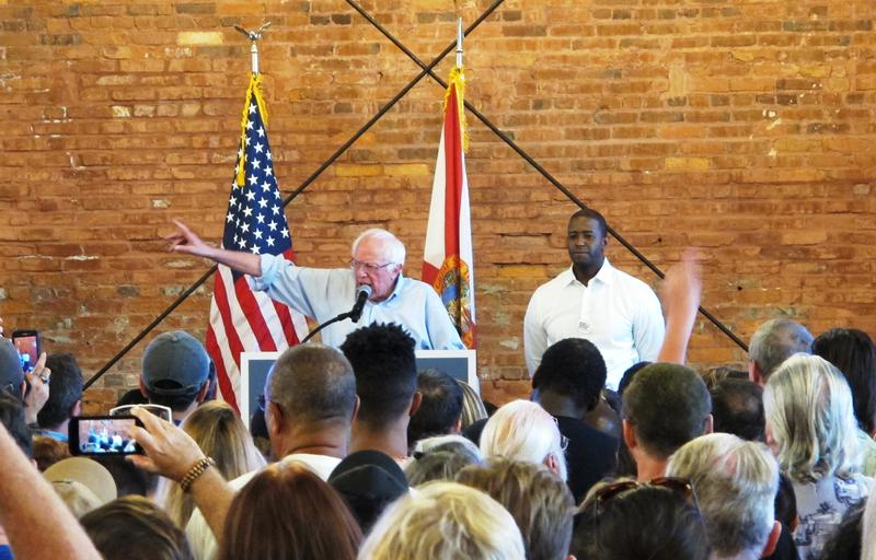 Bernie Sanders makes a point for Andrew Gillum