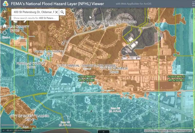 A screengrab from a demonstration of the new Pinellas County Flood Information App.