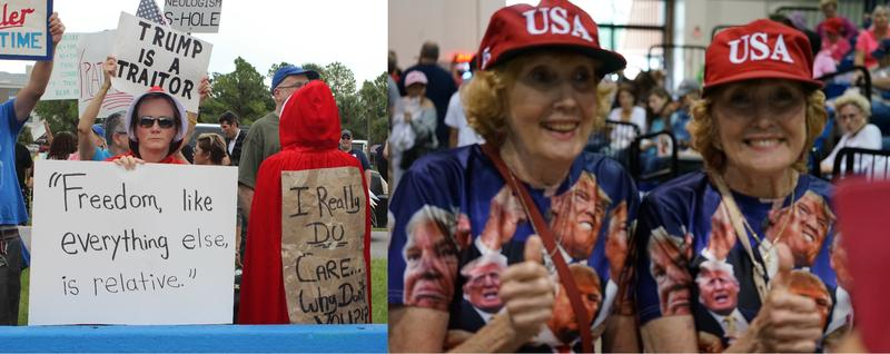"While a pair of protesters outside President Donald Trump's rally at the Florida State Fairgrounds dressed as characters from ""The Handmaid's Tale,"" two supporters identifying themselves only as the ""Ocala Trump Twins"" waited for the candidate inside.."