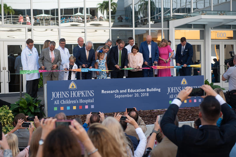 The ribbon cutting at the new Research and Education Building at the Johns Hopkins All Children's Hospital.