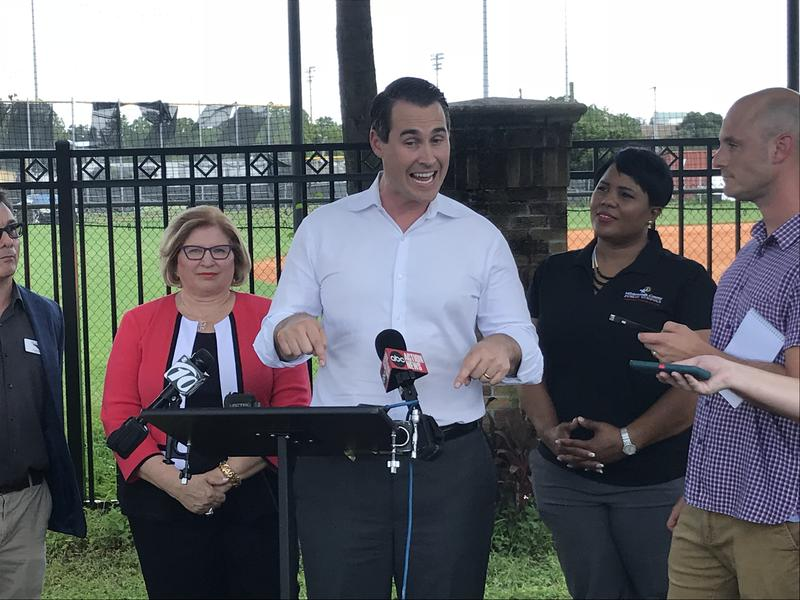 Chris King talks about Andrew Gillum's education plan in front of Plant High School