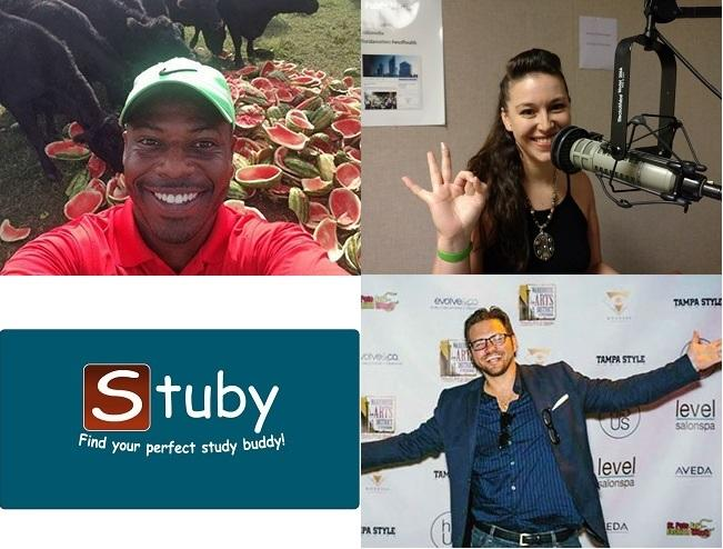 "Clockwise from upper left: AquaMelon creator Dez Williams, NoMo Bands creator Jacqueline Darna, filmmaker Ryan Justice, and logo for ""study buddy"" app Stuby"