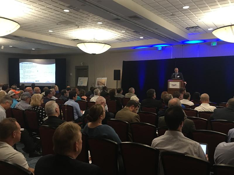 FDOT project manager Marshall Hampton discusses plans for the Howard Frankland Bridge replacement with contractors and designers Monday in Tampa.