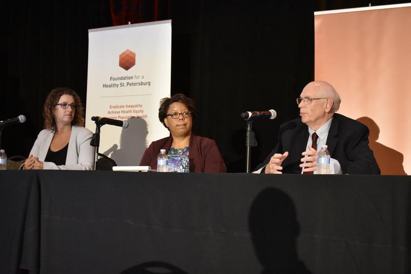 Panelists at the community briefing for a report released by the Foundation for a Healthy St. Petersburg. Left Diane Yentel, center Peggy Bailey and right Fred Karnas.