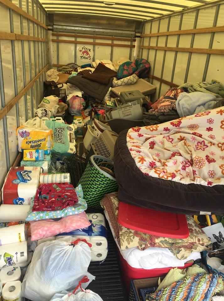 Volunteers filled a 26-foot truck with supplies.