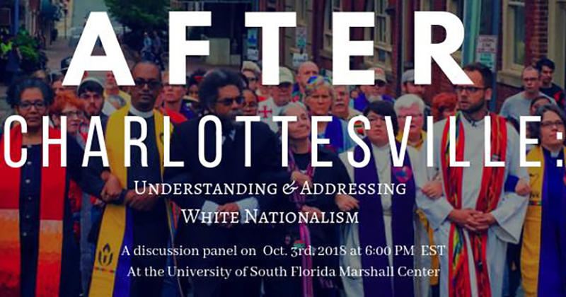 Ernest will speak about addressing white nationalism after the events in Charlottesville at a panel at USF Tampa on Wednesday night.