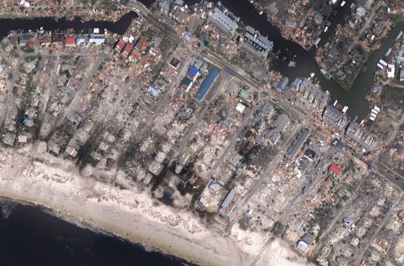 Aerial image of damage from Hurricane Michael.