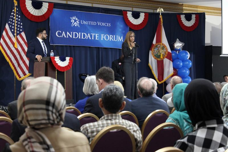 Karen Perez, a candidate for Hillsborough County School Board, was asked about her position on charter schools at the candidate forum hosted by the Islamic Society of Tampa Bay Area.