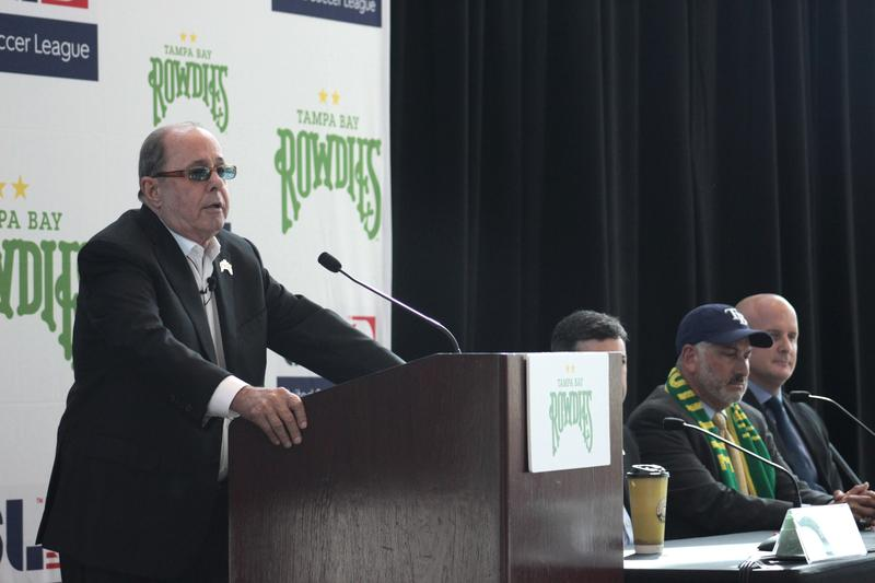 Tampa Bay Rowdies owner Bill Edwards announced he will sell the team to the Tampa Bay Rays at a press conference at the Mahaffey Theater Tuesday morning.