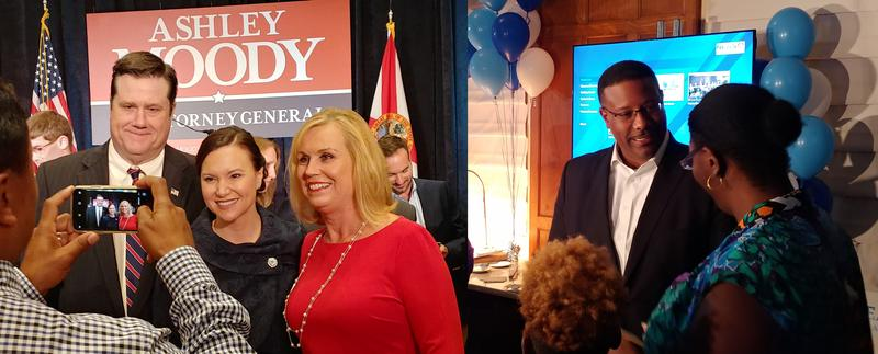 Republican Ashley Moody, center in picture on left, defeated Sean Shaw to become Florida's next Attorney General