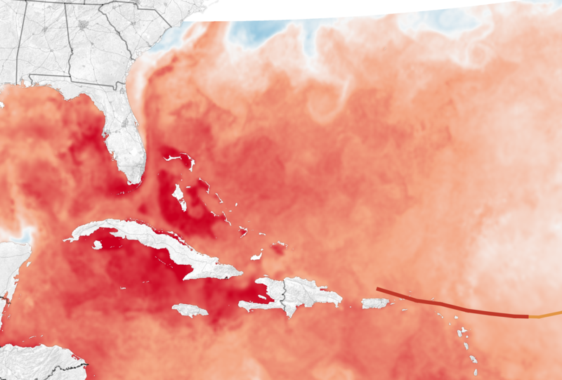 Map showing how warmer waters contributed to the intensity of Hurricane Irma