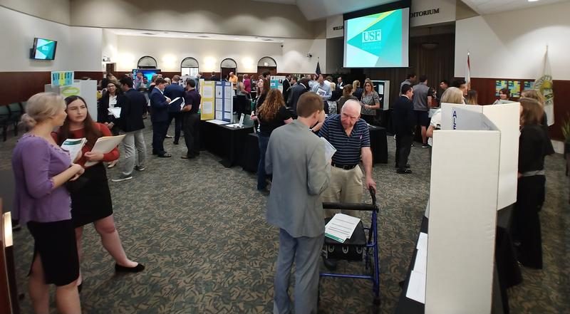 "Students and employers meet in a ""reverse career fair"" in USF Sarasota-Manatee's Selby Auditorium Nov. 8."