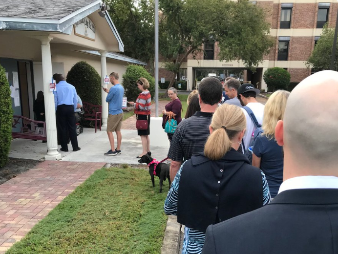 Voters wait in line on Election Day earlier this month in St. Petersburg.