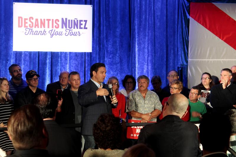 Governor-elect Ron DeSantis thanked his supporters in New Port Richey on Saturday for helping him win the election.
