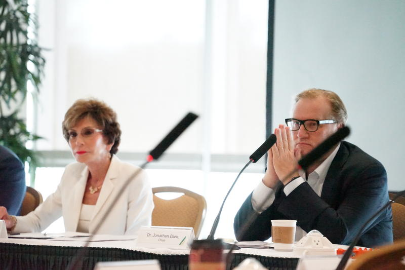 Dr. Jonathan Ellen, seen with USF System President Judy Genshaft at a Sept. 2018 USF consolidation task force meeting, is stepping down from the chairman role. Earlier in the week, he resigned as CEO of Johns Hopkins All Children's Hospital.