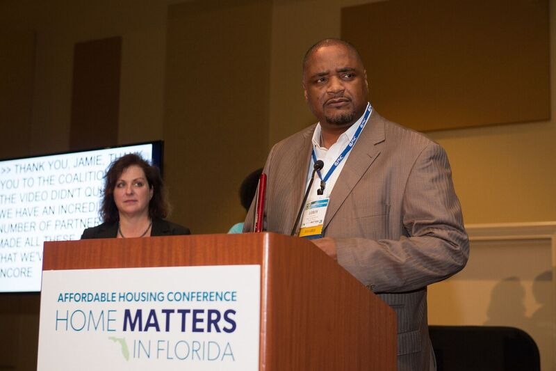 Leroy Moore, COO of the Tampa Housing Authority, speaking at a recent conference on affordable housing.