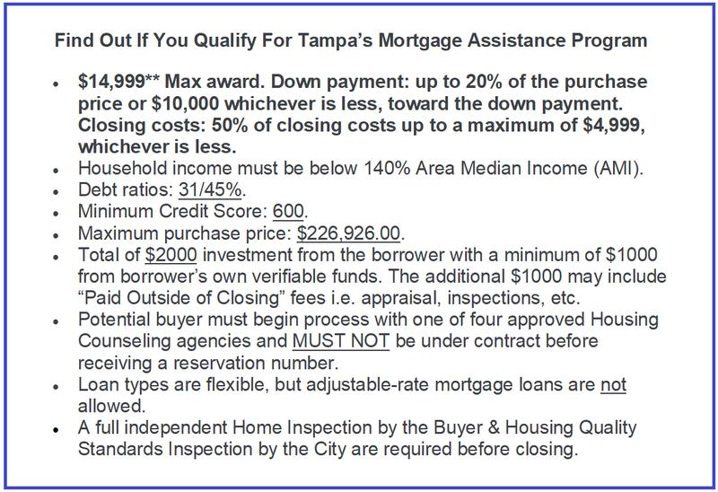 Curious if you qualify for Tampa's Mortgage Assistance Program? These are some of the requirements