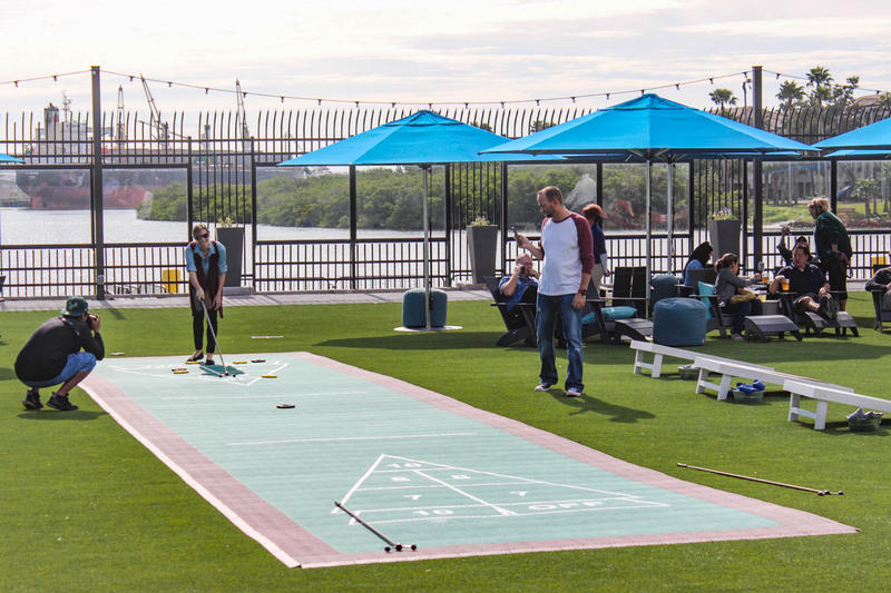 Sparkman Wharf features 10 pop-up restaurants, a beer garden and a turfed lounge area with a performance stage.