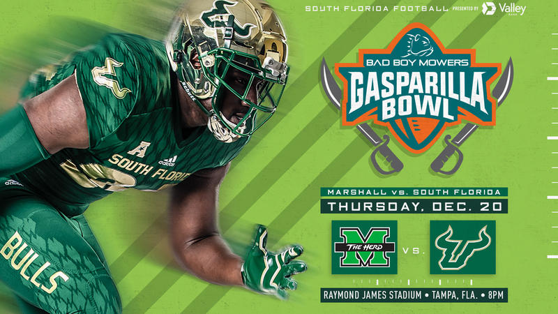 USF will take on Marshall in the Bad Boy Mowers Gasparilla Bowl Dec. 20 in Tampa.