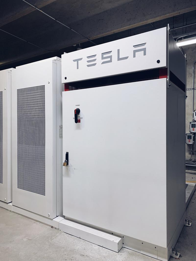On the first floor of the USFSP parking garage is the Tesla Battery Solar Storage System with the ability to store 250-kW of renewable energy.