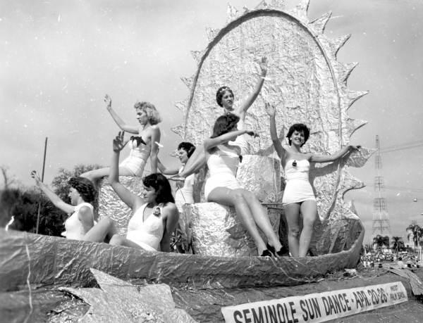 Beauty contestants in a 1959 Gasparilla parade. Krewe of Venus was formed in 1966 and was the first krewe to allow women to join. Ye Loyal Krewe of Grace O'Malley formed in 1992 and was first all-female group.