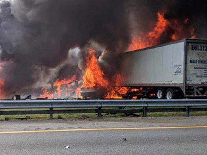 Five children heading to Disney World in a church van from Louisiana died along with two truck drivers in a fiery crash on Interstate 75 in north Florida.