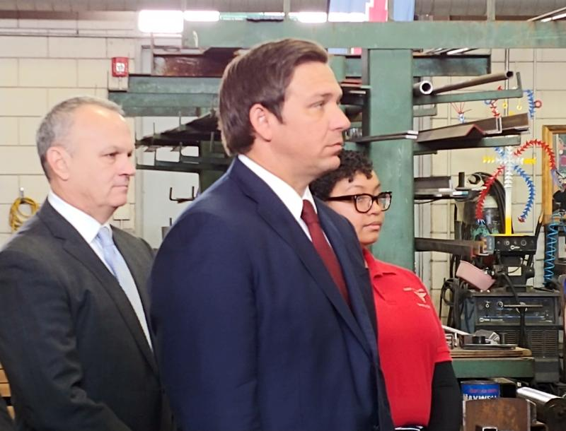 Gov. Ron DeSantis talked about education at Tampa Bay Tech H.S. Jan. 30. DeSantis unveiled his first proposed budget Friday.