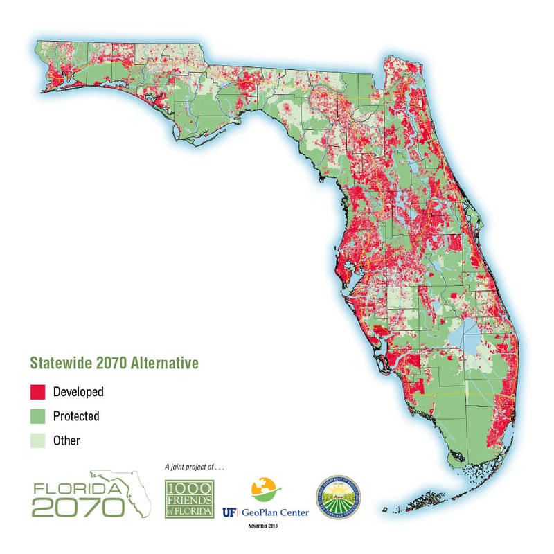1000 Friends of Florida created this map to show an alternative scenario -- what Florida may look like in 2070 if proper steps are taken to manage growth and conserve environmentally-sensitive lands.