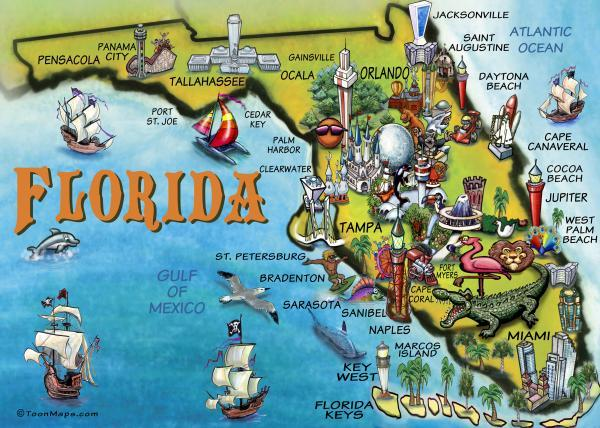 OUR map of Florida has the Sunshine Skyway Bridge near Tampa...and boring skyscrapers and condos near Miami.