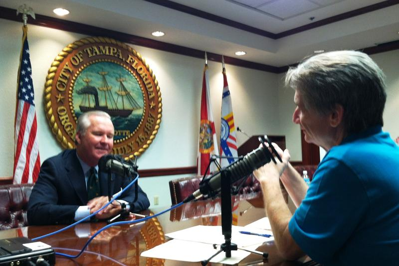 Tampa Mayor Bob Buckhorn (L) and Florida Matters Host Carson Cooper (R) in the mayor's conference room at Tampa City Hall Annex.