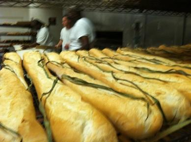 Freshly baked Cuban bread with the traditional palmetto leaf just out of the ovens at La Segunda Central Bakery in Ybor City.