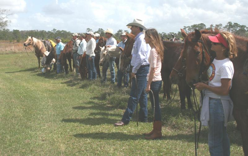 Cowboys and Cowgirls line up