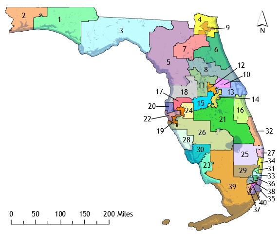 Florida District Map.State Senate Redistricting Battle Looms Wusf News