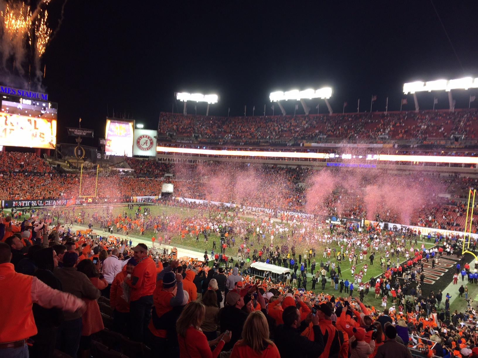 Kickoff time for national championship game - Fans Celebrate As Clemson Wins The 2017 College Football National Championship At Raymond James Stadium In Tampa