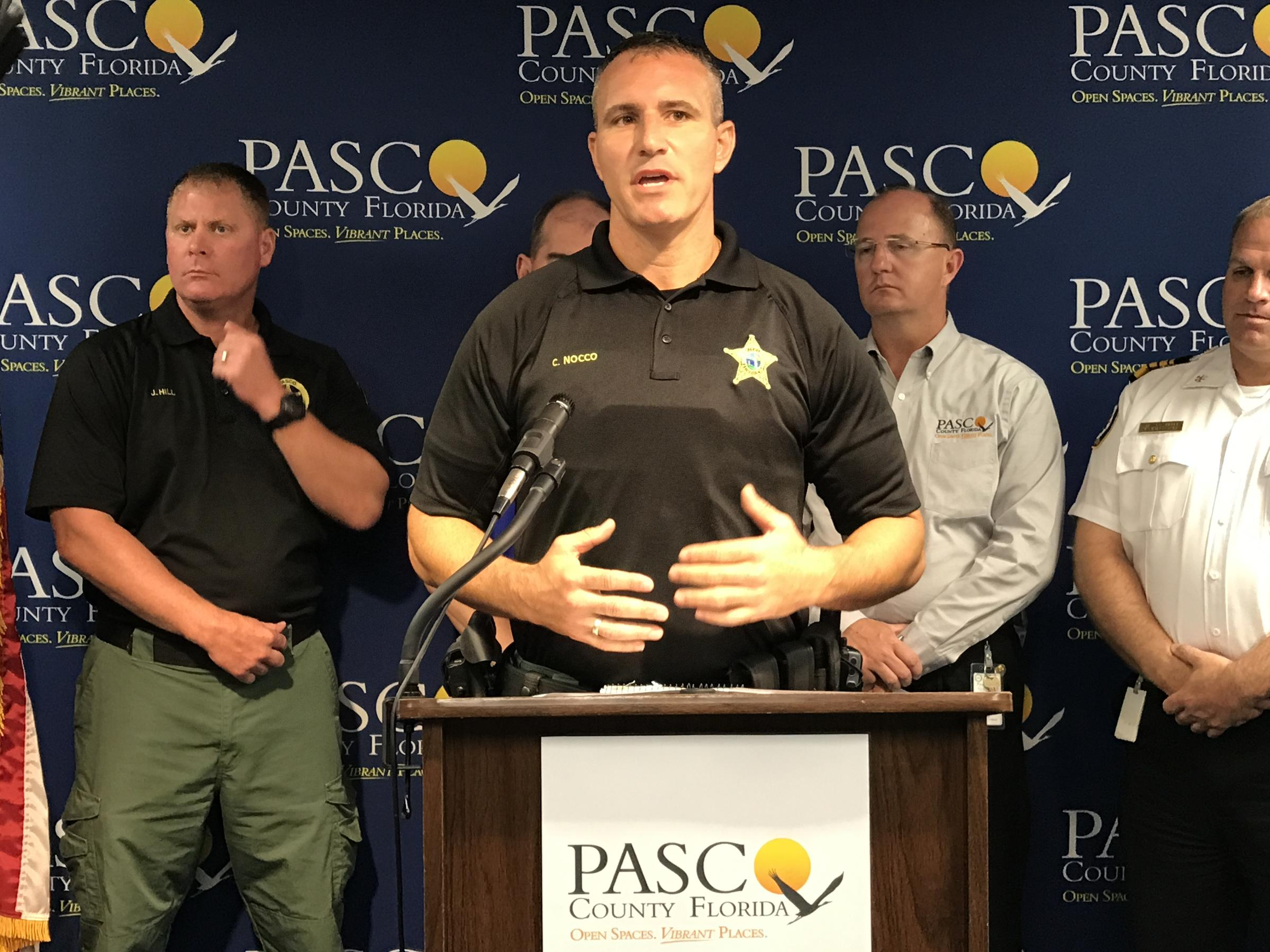 Pasco County Sheriff Chris Nocco talks about the space for registered sex offenders at Wiregrass Ranch High School in Wesley Chapel.