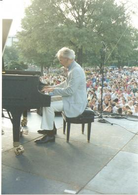 Dave Brubeck plays piano at the 1992 Charlotte Jazz Festival