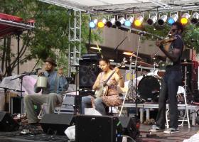 Rhiannon Giddens performs with the Carolina Chocolate Drops in 2008.