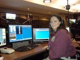 Public Safety Telecommunicator Amy McBryar prepared to answer a 911 call at the Hamilton County 911 Call Center.