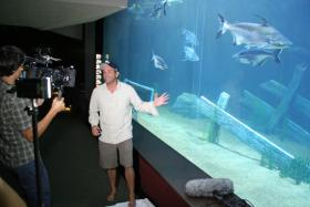 National Geographic Fellow Dr. Zeb Hogan films an episode of Monster Fish at the Tennessee Aquarium
