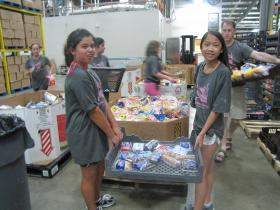 Campers from Camp Tikkun Olam volunteer with the Chattanooga Food Bank in 2012.
