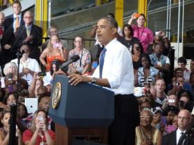 President Obama speaks at the Amazon fulfillment center in Chattanooga, TN.