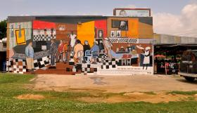 """We Shall Not Be Moved"" mural located at 526 East Martin Luther King Boulevard"