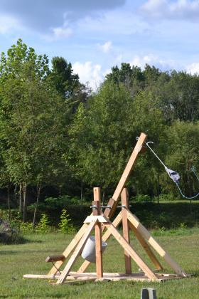 The trebuchet is warmed up and ready to launch pumpkins at the Pumpkin Smash on November 2nd at Crabtree Farms.