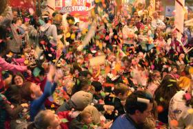 The confetti drop at 12:00 New Years at Noon at the Creative Discovery Museum December 31st.