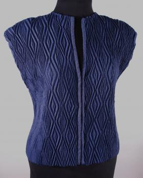 Blue Diamonds handwoven shibori vest by Dianne Totten, one of the fiber artists at Fiber Works.