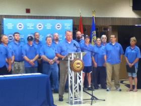 UAW Secretary-Treasurer Gary Casteel speaks at a press conference announcing UAW Local 42 in Chattanooga.