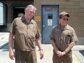Charlie Millican (l) and Ronnie Tims (right) are retiring with perfect safety records and more than 40 years each on the road, which ranks them among the top 20 UPS drivers in the world.