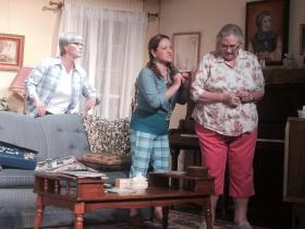 "Thelma Cagle, Tracey Gibson and Pat Northcutt performing in ""the Savannah Disputation"" at the Ripple Theater."