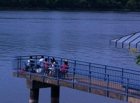 Five women fish at Johnson Pier in Riverpark near Chickamauga Dam on June 9.